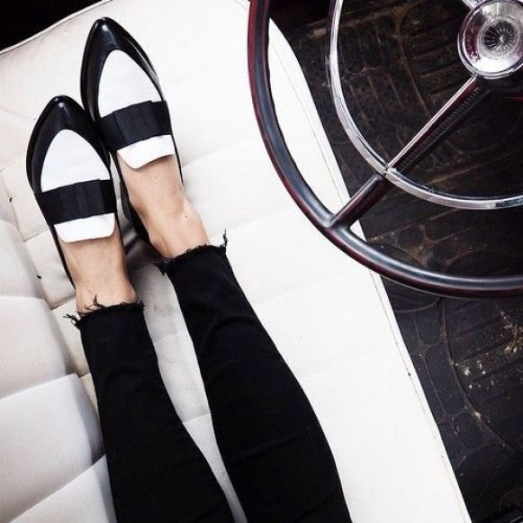 two-tone black & white loafers & raw hem skinny black jeans #style #fashion #shoes: