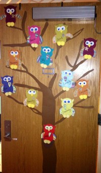 Dorm door spring owl decorations | RA door decorations ...