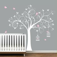 Wall Decal Tree with Birdcages, Birds