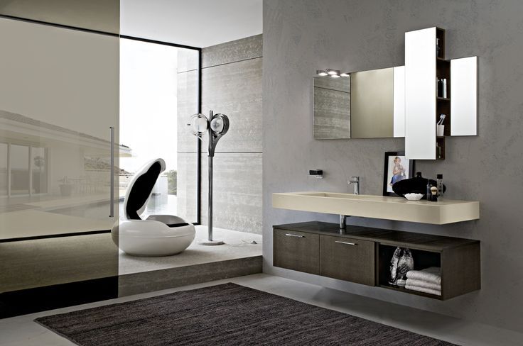 Bagno Play con finitura Rovere Cacao httpwwwcerasaitit_ITbagnimodernoplayarredobagno