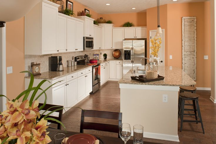 Peach Colored Walls  Our Kitchen  Pinterest  White