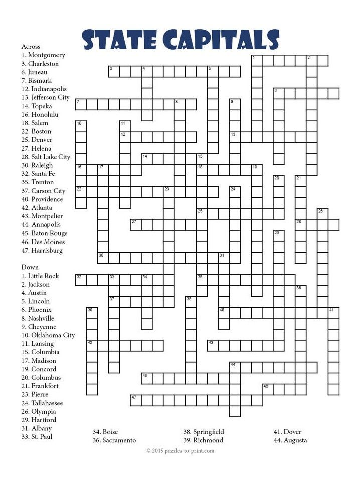 A challenging crossword puzzle to help students learn the