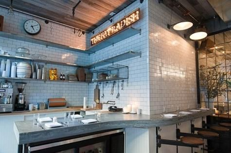 OutdoorIndoor at The Fat Radish in NYC  Restaurant White subway tiles and Vintage love