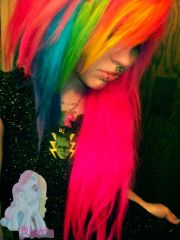 rainbow emo hair. girls