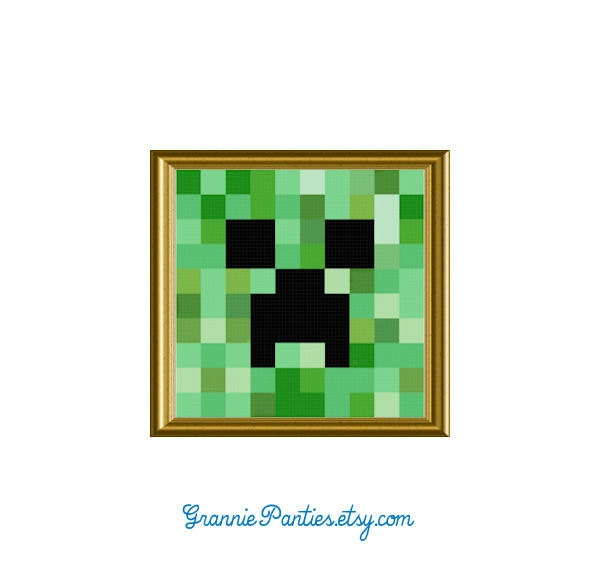 PDF PATTERN ONLY Minecraft creeper counted cross stitch
