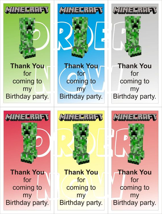 #Minecraft #Creeper Thank You Goody Bag Cards DIY By