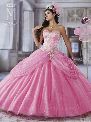 Marys Bridal 4Q937 | Colors Available: Hot Pink/Multi; Magenta/Multi; Sapphire/Multi or White/Multi | Fabric: Sparkling Tulle