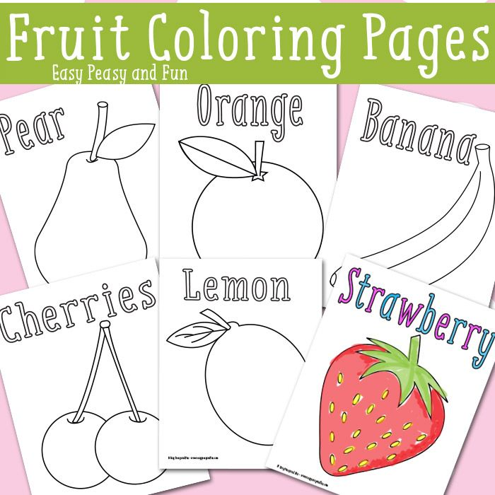 Fruit Coloring Pages - Free Printable   Coloring, The ...   fruits coloring pages for kindergarten