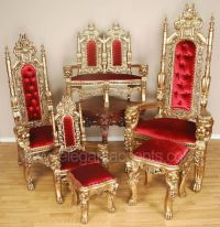 Carved Mahogany King Lion Gothic Throne Chair Gold Red