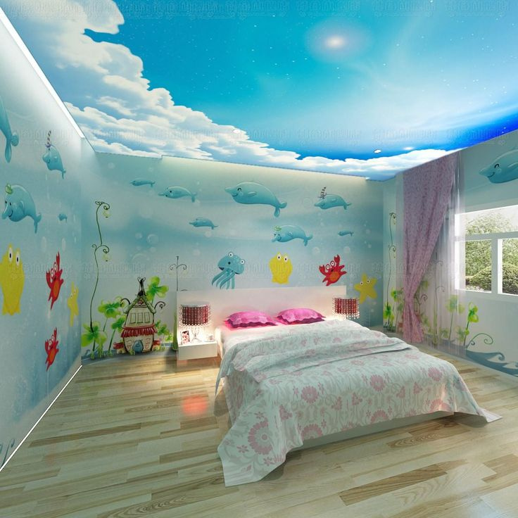 Free shipping 3d wallpaper dolphin cartoon child real