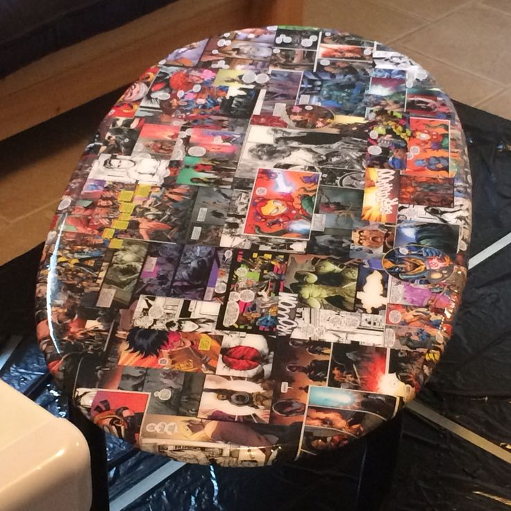 retro living room coffee table bar design in upcycled old into new comic book themed ...