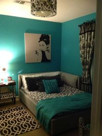 Teal, black, white, and gray bedroom