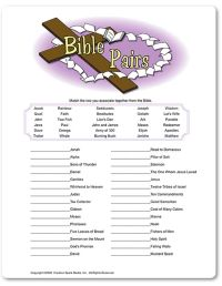 Printable Bible Pairs - Funsational.com   Party ideas ...