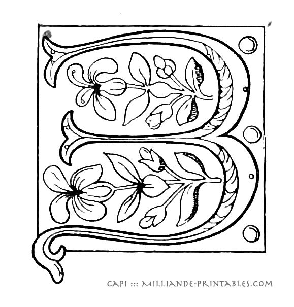 Ornamental Letter B- Illuminated Manuscript Letters B