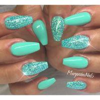 Best 25+ Teal acrylic nails ideas on Pinterest
