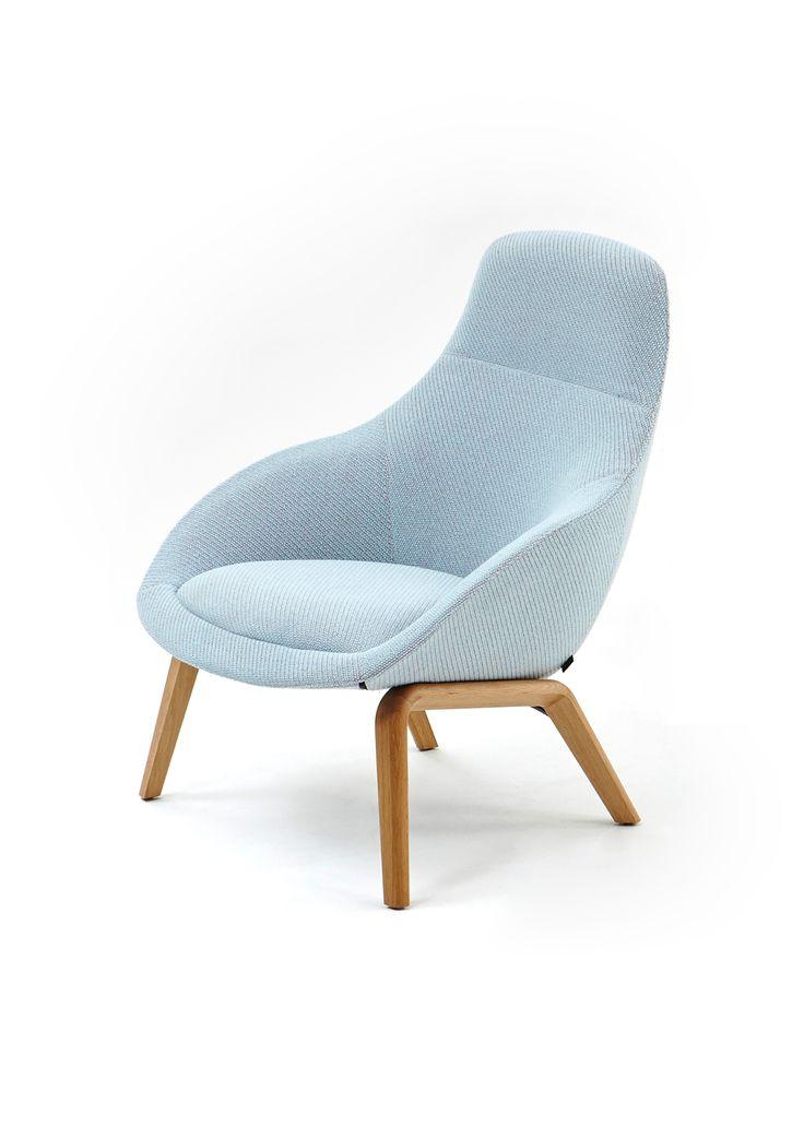 Powder blue oak base Always Lounge chair  Always Lounge