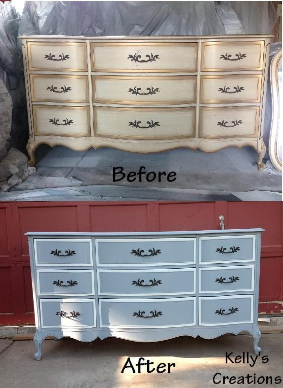 White and blue French Provincial dresser before and after pictures Refinished by Kellys