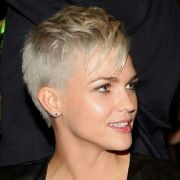 pixie with shaved sides long bangs
