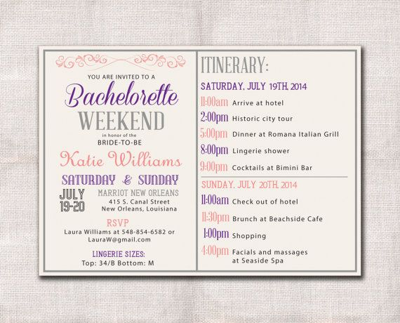 Bachelorette Party Weekend invitation itinerary  Bridal