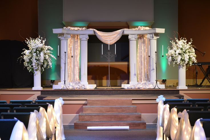 Church Wedding Stage With Columns Drapery Encased