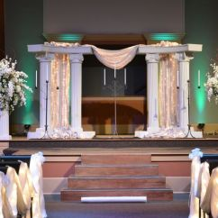 White Chairs For Wedding Hair On Hide Desk Chair #church #wedding. #stage With #columns, #drapery, Encased #minilghts, #floral #arrangements, # ...