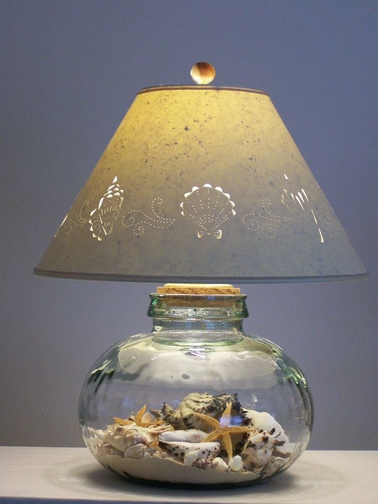 Glass Lamp filled with Sand and Shells  Beach  Beach House  Ocean  Sea  Pinterest