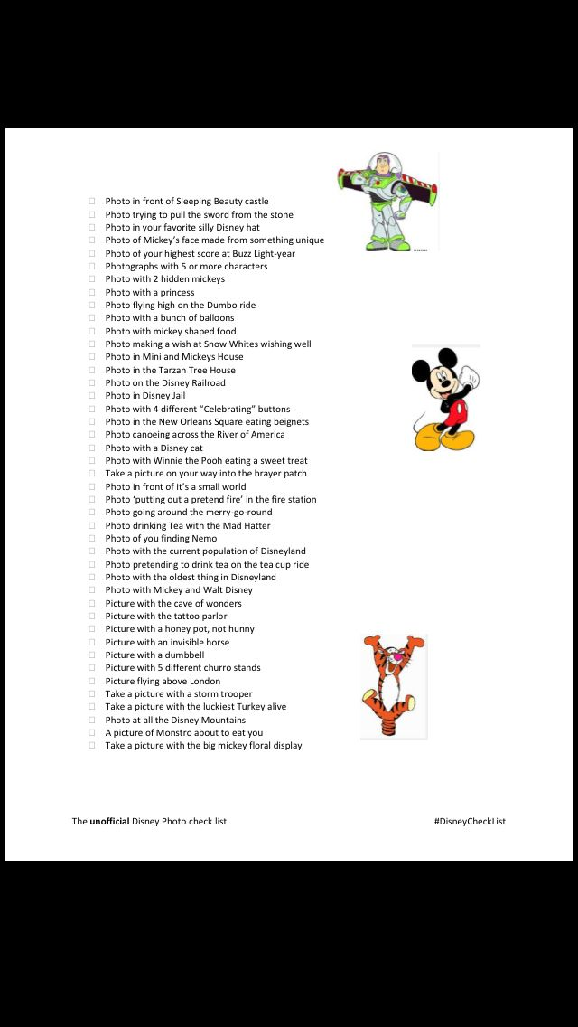 Disneyland photo check list!! Scavenger hunt, picture