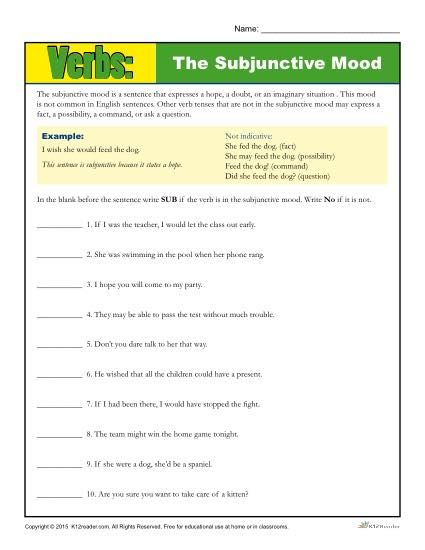 diagramming sentences with conjunctions school bus parts diagram the subjunctive mood verb worksheet | grammar, activities and of speech