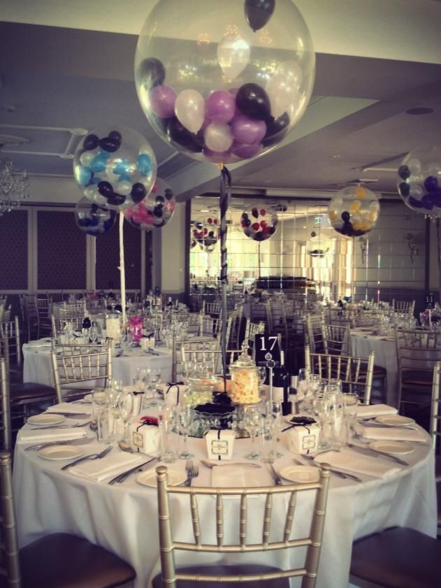 Small 5 balloons stuffed inside diamond clear 3ft balloons set as table arrangements  Bespoke