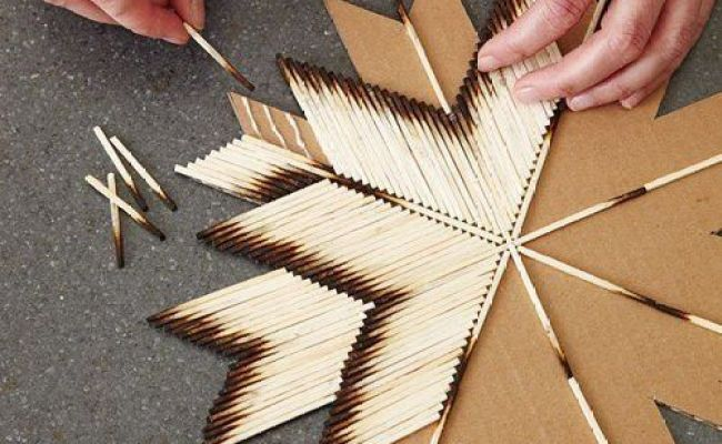 Diy Wall Art Cardboard Burnt Matches Cleaver