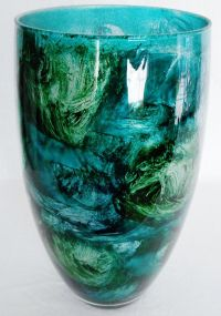 Vintage Multi Shades of Teal with Silver Sparkle Art Glass ...