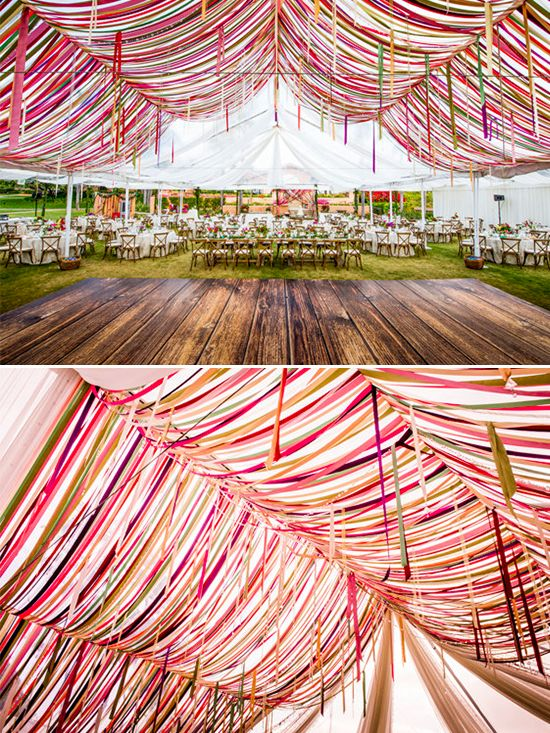 Garden wedding with a colorful ribbon tent at Rancho