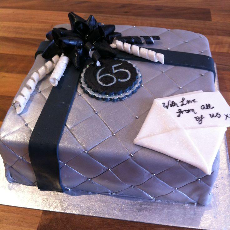 65th birthday cake man cake fondant bow gift cake