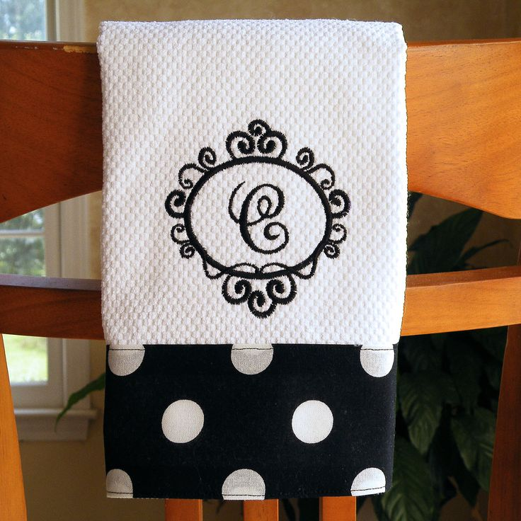 monogrammed dish towel