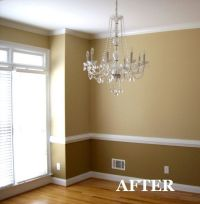 two tone dining room with chair rail - light color above ...