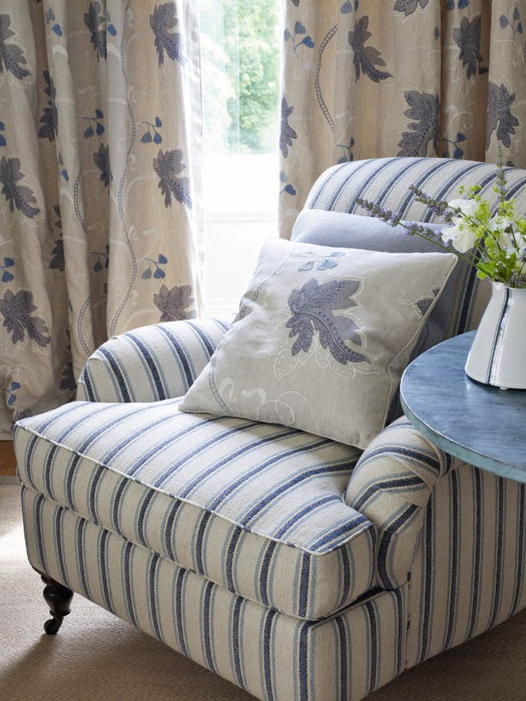 Colefax And Fowlers Gresham Stripe chair Kashmir Leaf