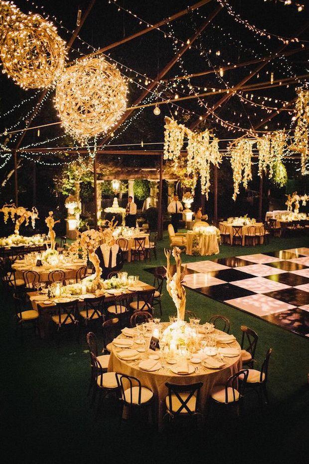 romantic string lights for evening wedding reception ideas