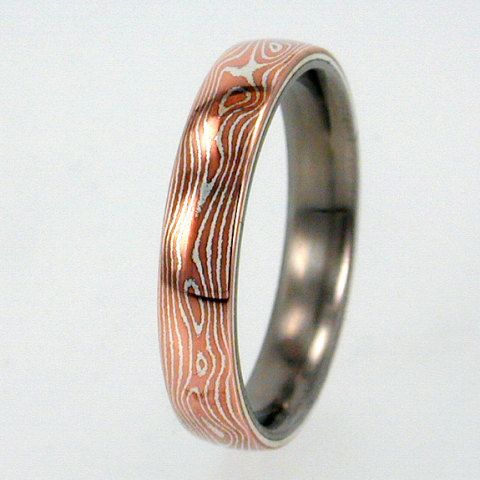 Mokume Gane Inlay Mens Or Womens Titanium Ring Wedding