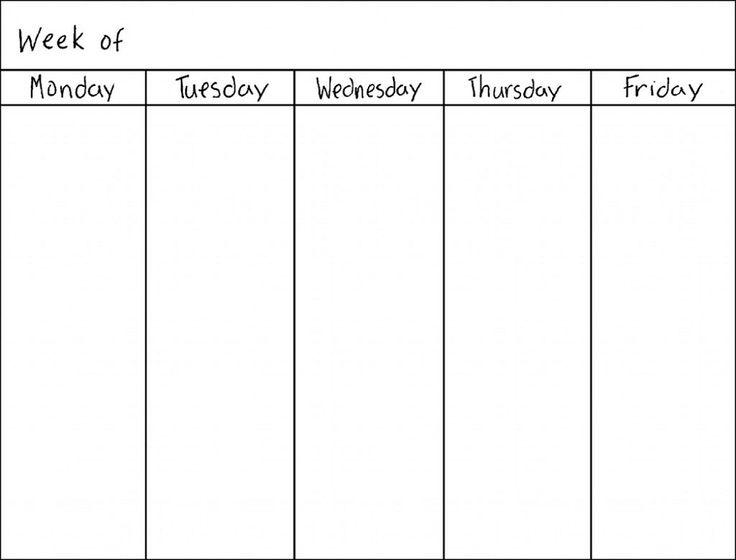 monday through friday template