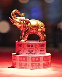elephant figurines & ticket decorations. center piece ...