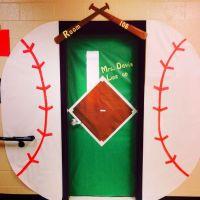 Baseball themed classroom door | Sport team school theme ...