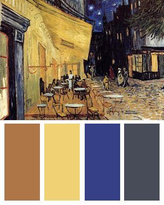 Color Palette inspired by Vincent van Goghs The Cafe Terrace on the Place du Forum  Color