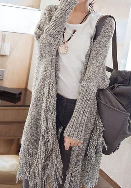 chunky grey fringed cardigan
