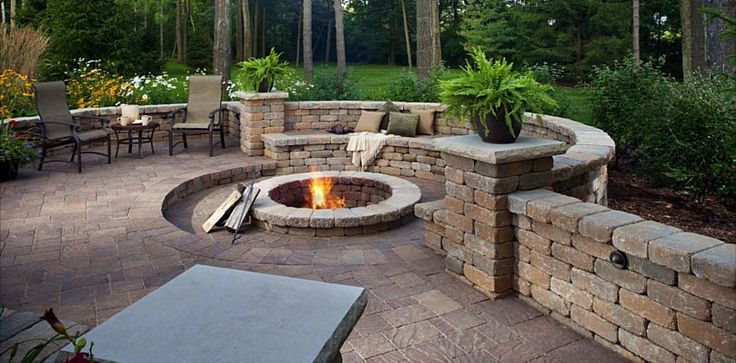 Urbana Pavers Fire Pit Weston Stone and Seating Wall by