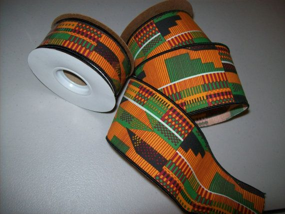 Kente wired ribbon per 10 yard roll African print ribbons Kente bows African craft ribbons