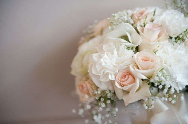 Soft Peach And White Bridal Bouquet With Babys Breath