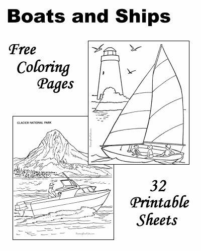 32 boat coloring sheets. Mostly sailboats, no PFDs