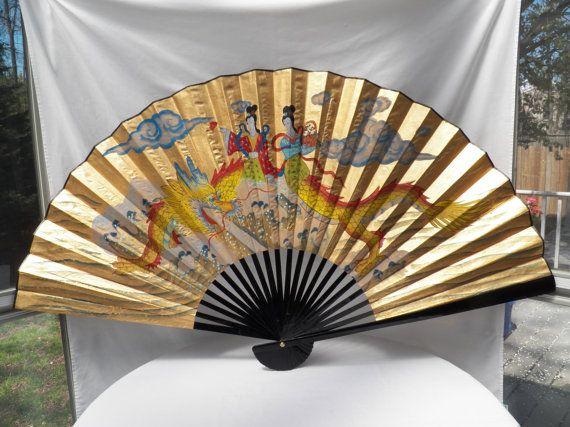 """LARGE 48"""" Hand Painted Oriental Wall Folding Fan"""
