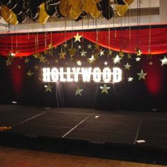 Diy Wedding Chair Covers Pinterest Walmart Com Chairs Black Backdrop With Hollywood Sign And Gold Cardboard Stars   Theme ...