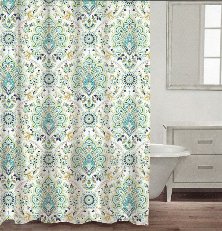 Caro Home 100 Cotton Shower Curtain Floral Paisley Medallions Fabric Shower